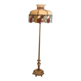 1930's Leaded Glass and Alabaster Floor Lamp
