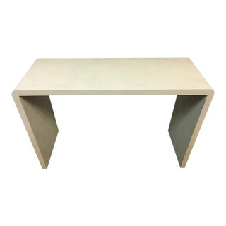 Art Deco Style Faux Shagreen White Console Table