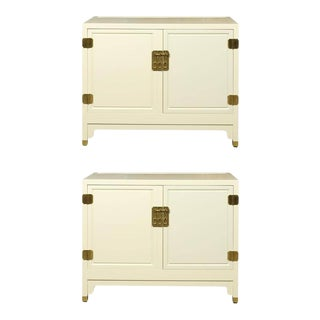 Elegant Pair of Vintage Baker Cabinets Restored in Cream Lacquer