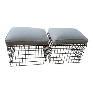 Vintage Metal Basket Stools - Pair