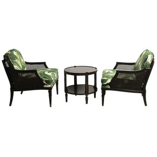 Thomasville Leaf Caned Club Chairs & Table - Set of 3