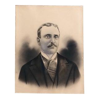 Antique Charcoal Portrait Drawing