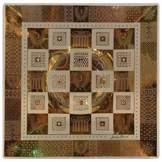 Vintage Georges Briard Golden Celeste Pattern Fused Glass Serving Tray