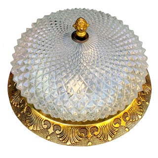 Hollywood Regency Diamond Cut Glass Light Fixture