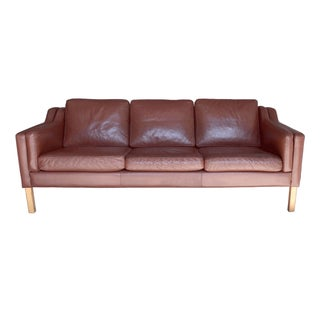 Danish Borge Mogensen Style Leather Sofa