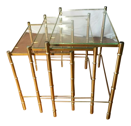 Hollywood Regency Faux Bamboo Brass U0026 Glass Nesting Tables   S/3