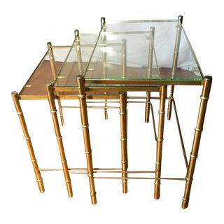 Hollywood Regency Faux Bamboo Brass & Glass Nesting Tables - S/3