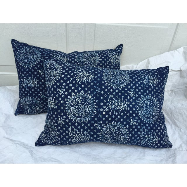 Indigo Batik Pillows- A Pair - Image 2 of 6