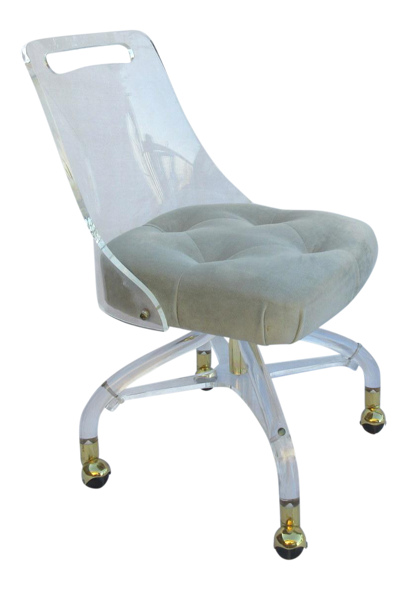 Lucite Rolling Desk Chair With Tufted Velvet Seat