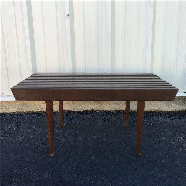 Mid Century Modern Walnut Slat Bench - Image 4 of 6