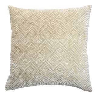 Italian Cream Geometric Linen Velvet Pillow