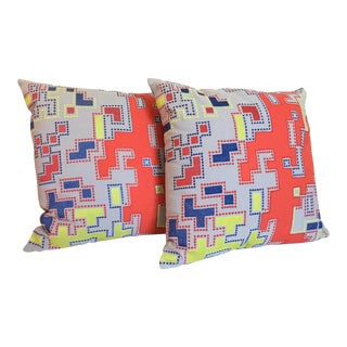 Modern Embroidered Geometric Pillows, a Pair