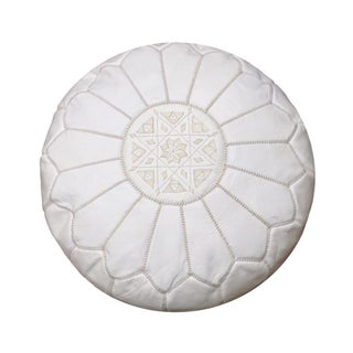 White Moroccan Leather Pouf, Ottoman, Footstool