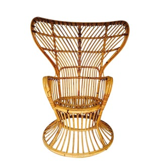 Franco Albini Style Vintage Bamboo Peacock Chair