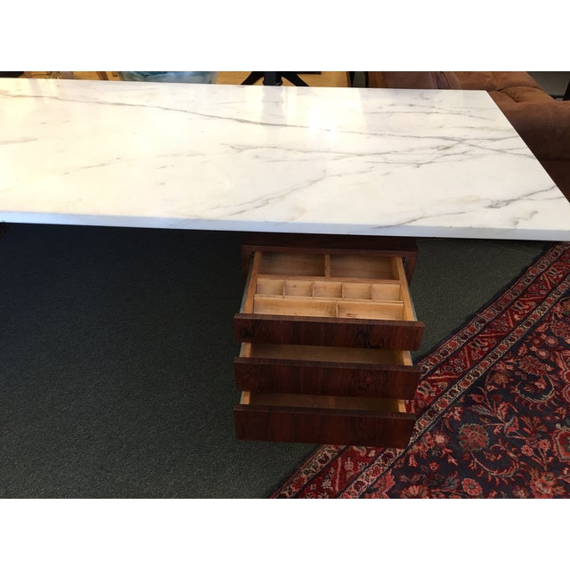 Mid-Century Executive Desk, Marble Top - Image 7 of 11
