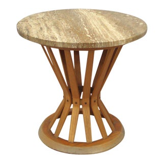 Travertine Top Sheaf of Wheat Occasional Table by Edward Wormley