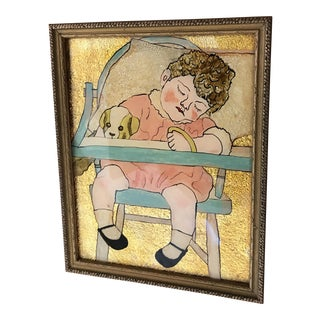 Vintage Reverse Paint Glass Baby Folk Artwork