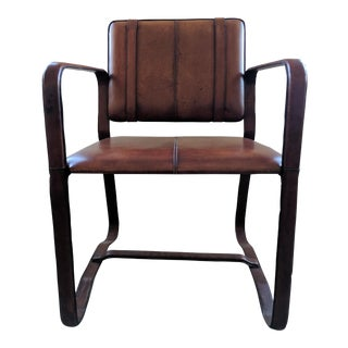 RH Antiqued Chestnut Leather Equestrian Inspired Buckle Chair