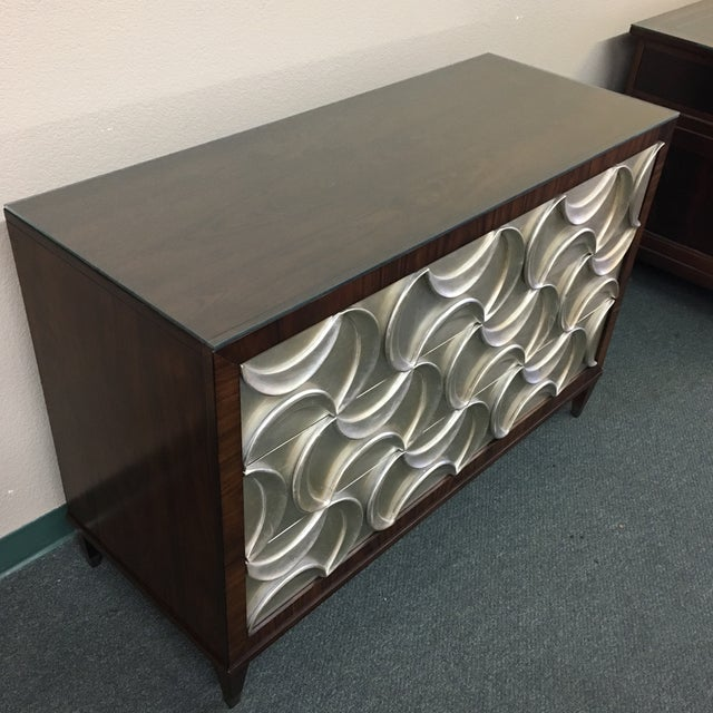 Caracole Rosewood & Silver Tie One On Three Drawer Chest - Image 4 of 11
