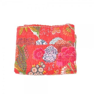 Red Floral Kantha Throw - Queen