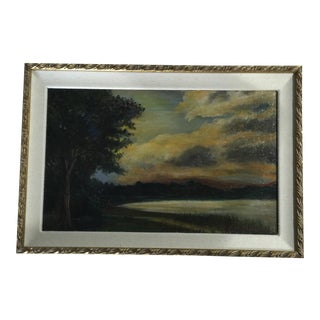 Framed Original Lake Scene Oil on Canvas Painting