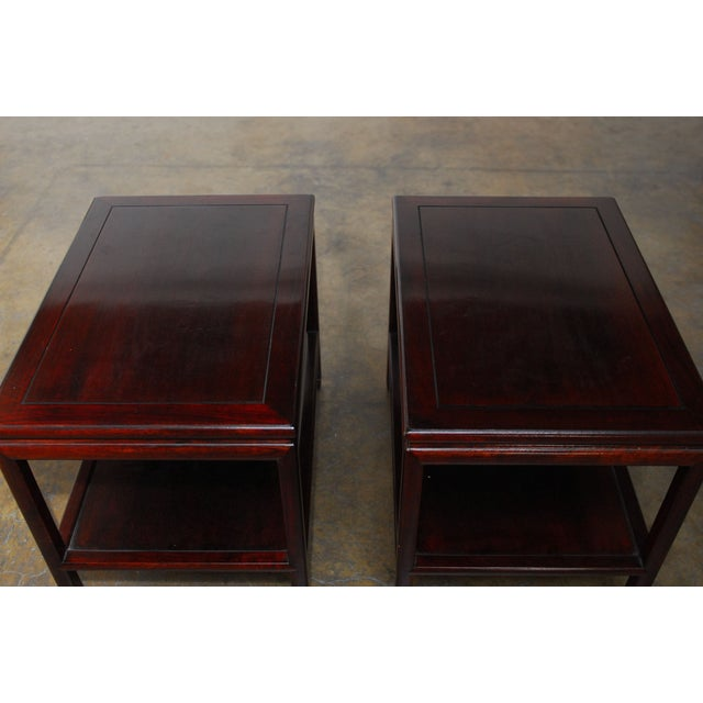 Image of Ming Style Asian Rosewood Side Tables - Pair