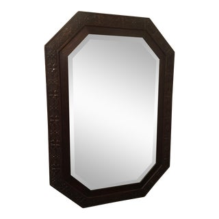 Antique Jacobean Octagonal Carved Wood Mirror