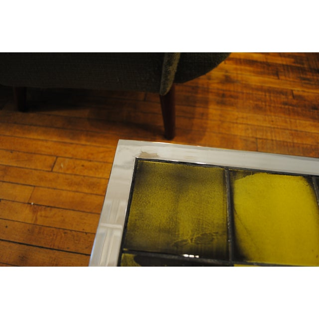 Image of Tile and Chrome Danish Modern Coffee Table