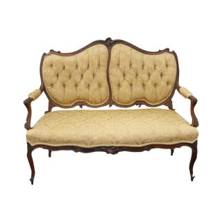 Antique French Provincial Carved Tufted Settee