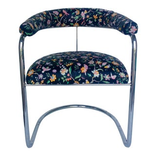 Anton Lorenz Style Chrome Chair With Vintage Fabric