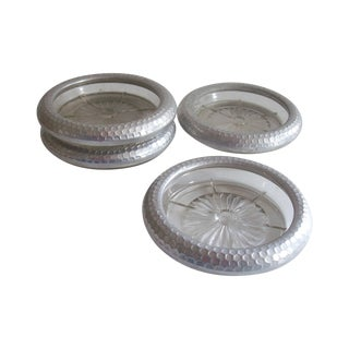 Hammered Aluminum Glass Coasters - Set of 4