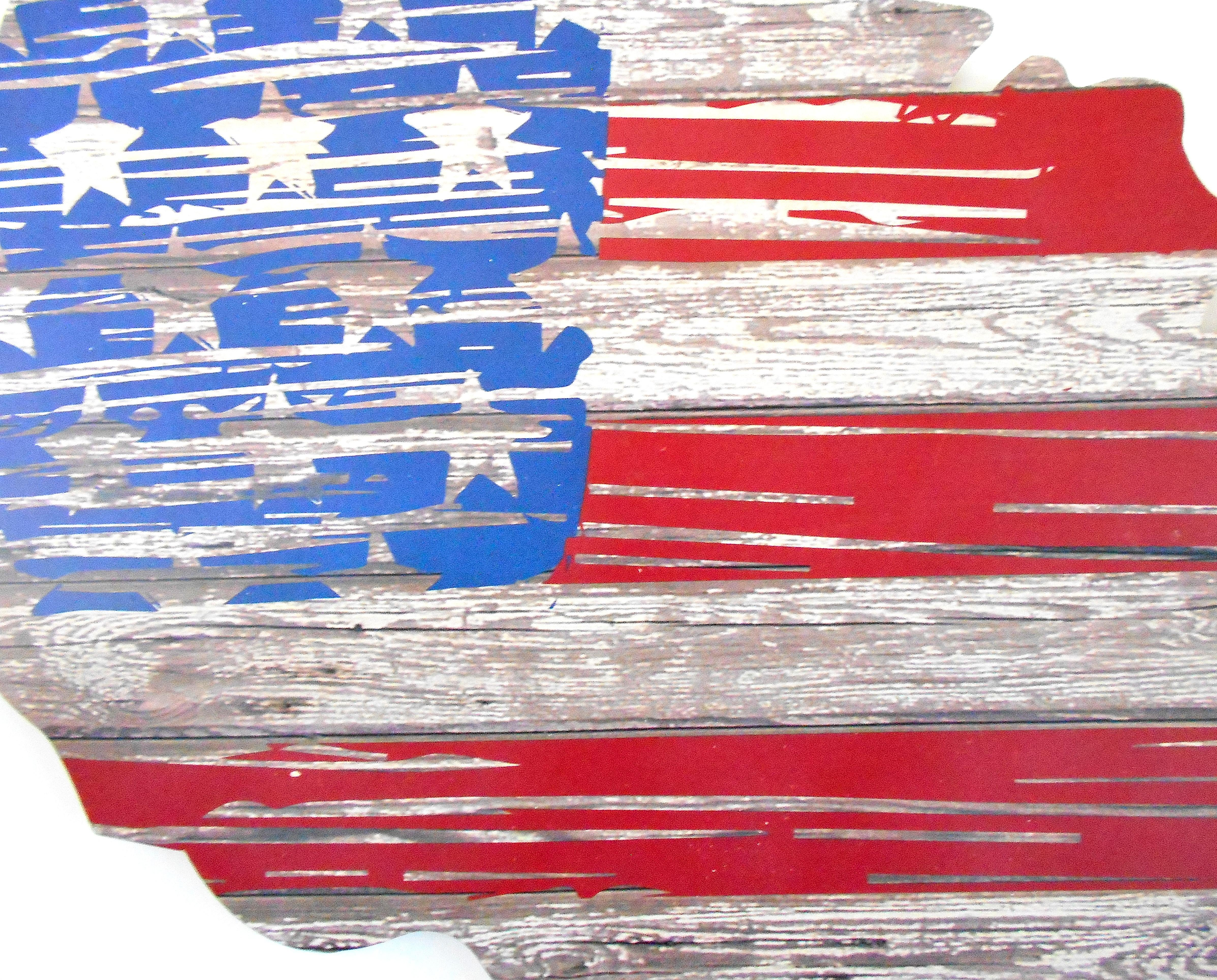 American Flag Wall Art rustic wood american flag wall art | chairish