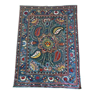 Blue Vintage Suzani Throw