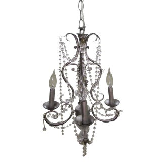 Glass Beaded Silver Chandelier