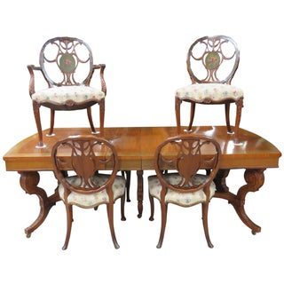 Irwin Paint Decorated Inlaid Table & 6 Chairs