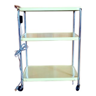 Vintage Butter Yellow Metal Rolling Cart