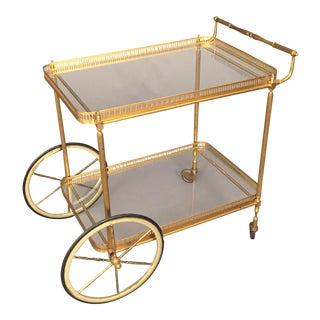 Art Deco Brass & Metal Cart