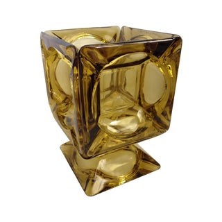 Mid-Century Amber Glass Cubed Bowl Candleholder