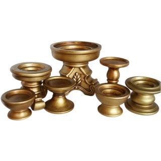 Gold Ceramic Pedestal Candle Holders - Set of 7