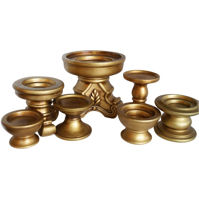 Pedestal Candle Holders : Gold ceramic pedestal candle holders set of chairish