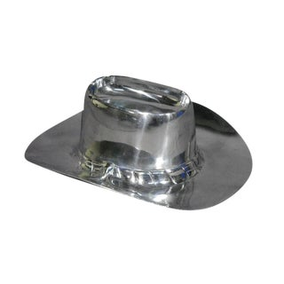 Heavy Polished Aluminum Cowboy Hat Chip & Dip Centerpiece