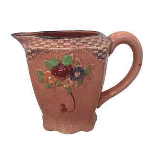 Japanese Vintage Pink Pitcher With Flowers