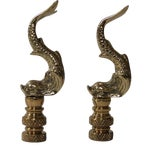 Image of Brass Asian Dolphin Finials - A Pair
