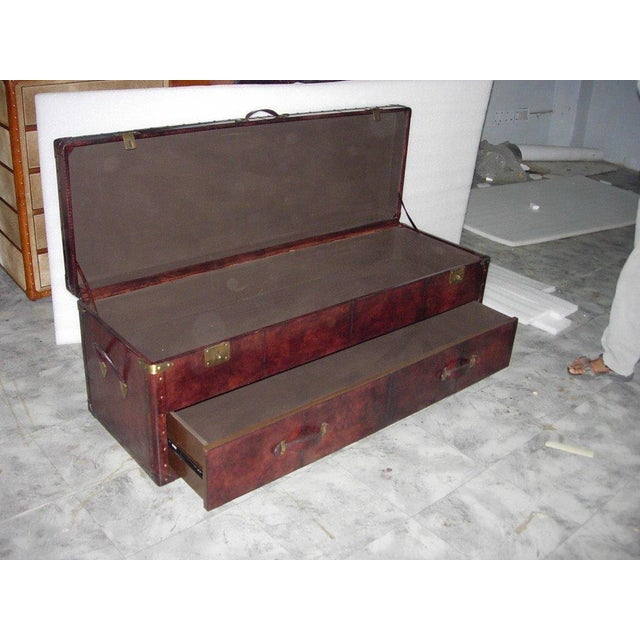 Dark Brown Genuine Leather Bedside Trunk Chest - Image 2 of 2