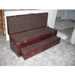 Image of Dark Brown Genuine Leather Bedside Trunk Chest