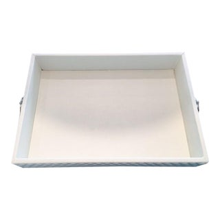 Faux Leather White Decorative Tray