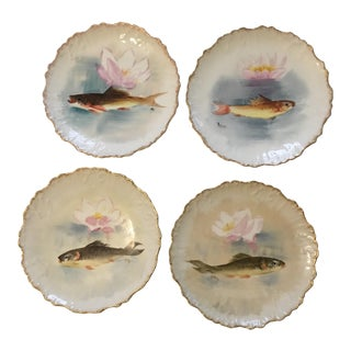 Hand Painted Limoges Fish Plates - Set of 4