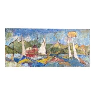 Mid-Century Oil on Board Abstract Seascape