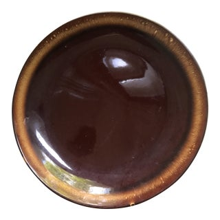 Early 20th Century Hand Thrown Brown Drip Chop Platter Stamped USA