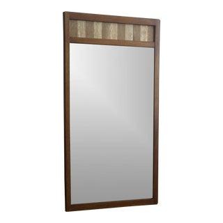 Tall Wood & Travertine Accent Framed Mirror